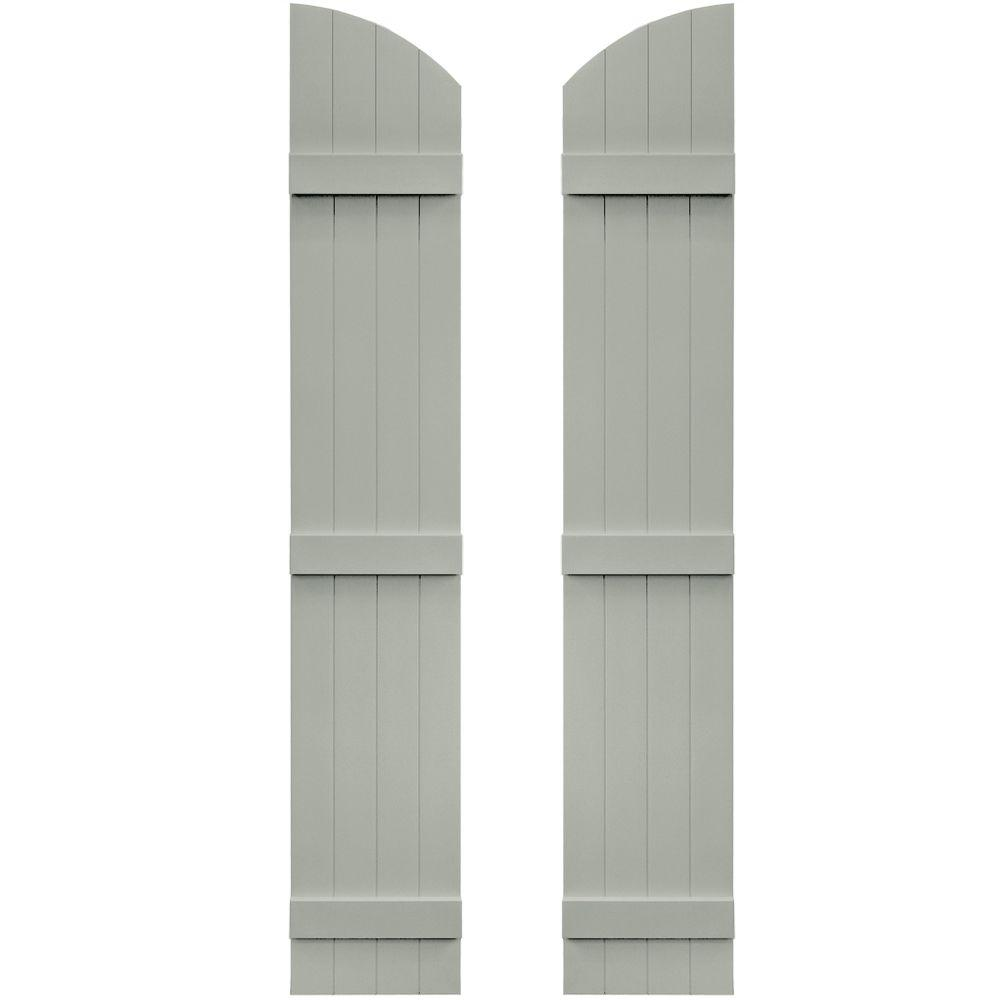Builders Edge 14 in. x 77 in. Board-N-Batten Shutters Pair, 4 Boards Joined with Arch Top #284 Sage