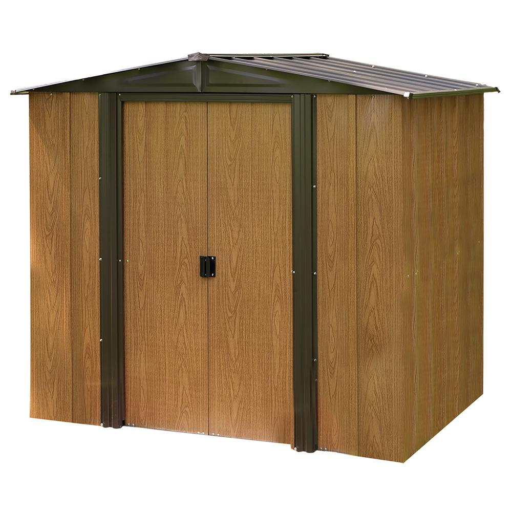 Arrow Woodlake 6 ft. W x 5 ft. D 2-Tone Wood-grain Galvanized Metal Storage Shed with Floor Frame Kit