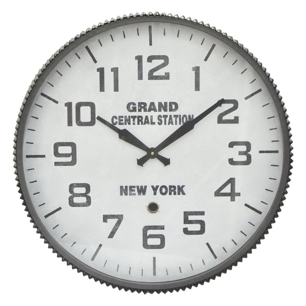 Gray Metal Wall Clock