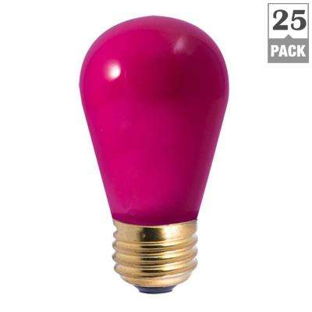 11-Watt S14 Ceramic Pink Dimmable Incandescent Light Bulb (25-Pack)