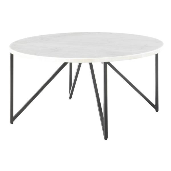 Kinsler Round Coffee Table in Black Marble