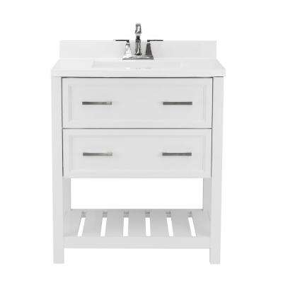 Milan 31 in. Bath Vanity in White with Cultured Marble Vanity Top w/ Backsplash in White with White Basin