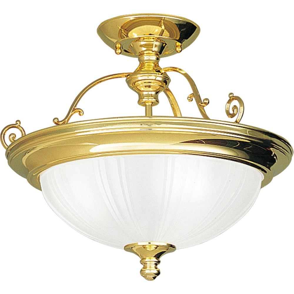 Progress Lighting Prescott Collection Polished Brass 3-Light Semi-flushmount-DISCONTINUED