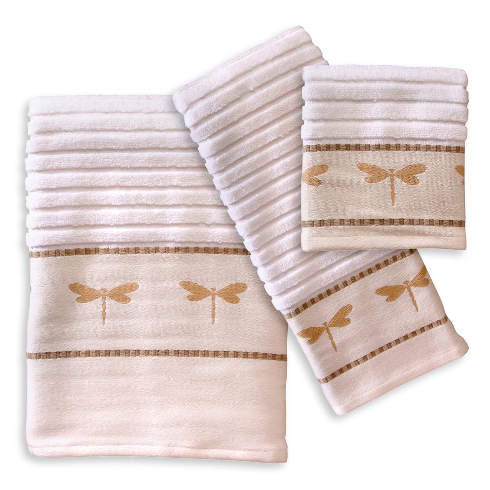 Dragonfly 3-Piece Cotton Jacquard Embroiderery Bath Towel Set in Tan and