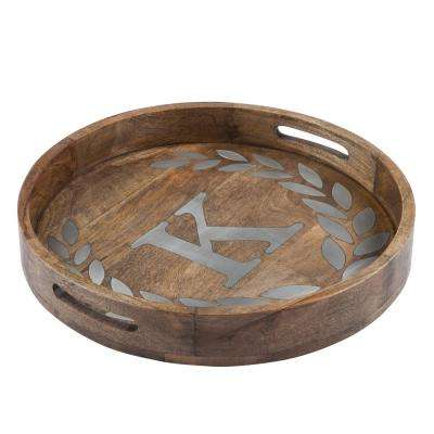 "20 in. D Mango Wood Round Tray ""K"""