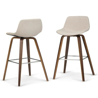 Randolph 36.6 in. Natural Linen Look Fabric Mid Century Modern Bentwood Counter Height Stool (Set of 2)