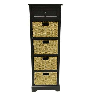 Woven Basket Black Storage Accent Cabinet