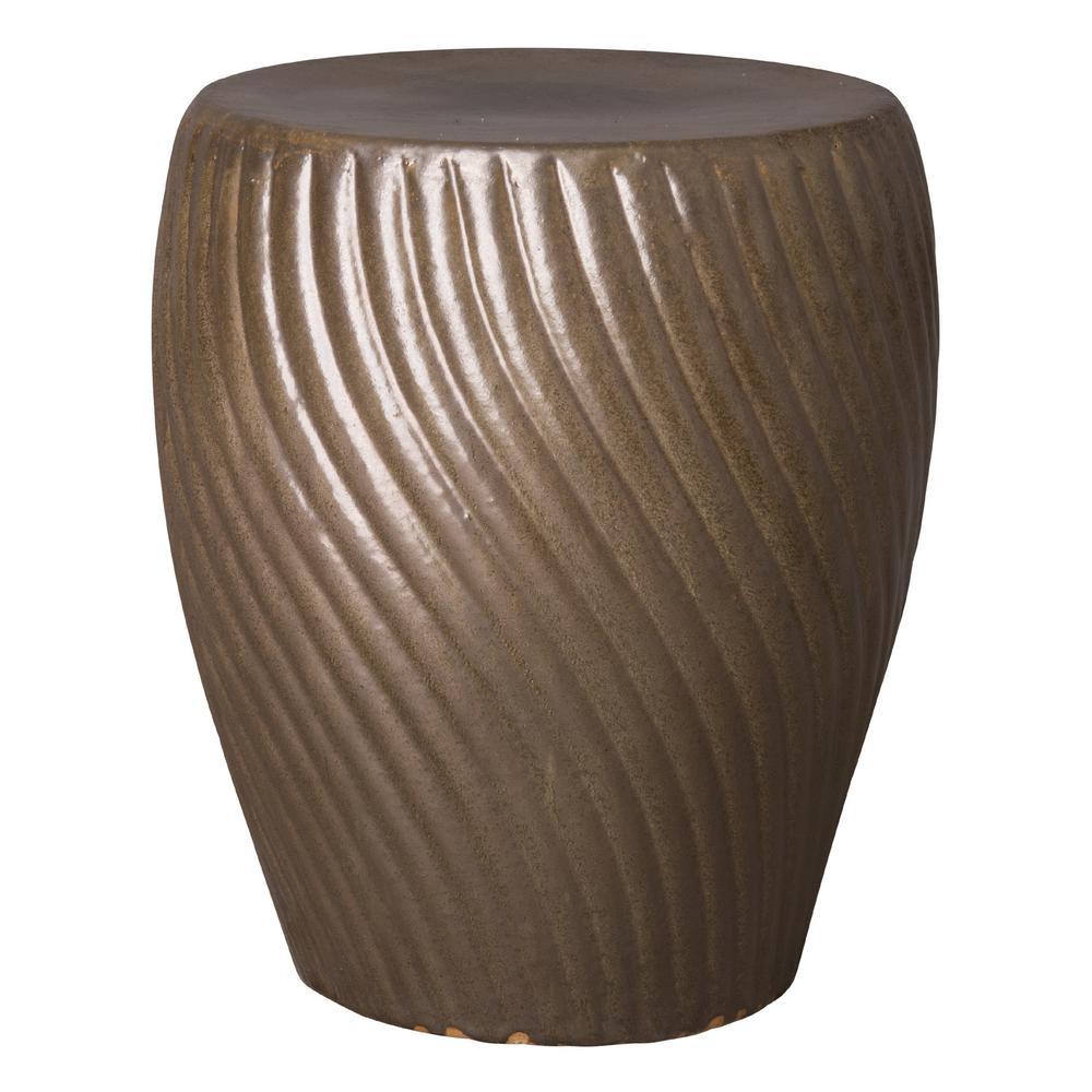 Spiral Metallic Taupe Ceramic Garden Stool