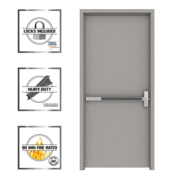 36 in. x 80 in. Gray Flush Exit Left-Hand Fire Proof Steel Prehung Commercial Door with Welded Frame