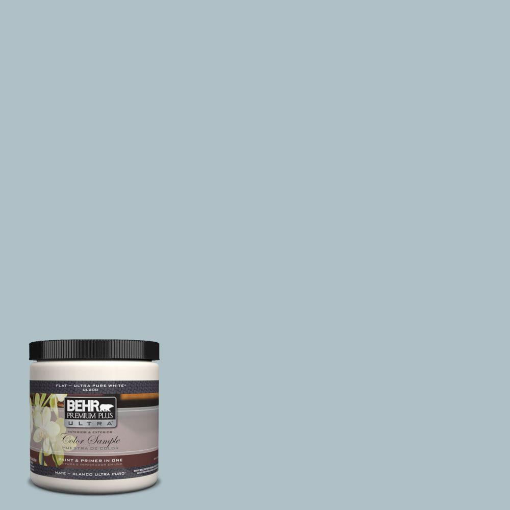 BEHR Premium Plus Ultra 8 oz. #UL220-7 Ozone Matte Interior/Exterior Paint and Primer in One Sample