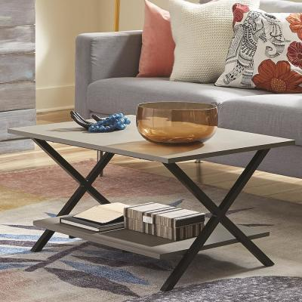 Cornerstone Gray 36 in. W Concrete-Coated Coffee Table
