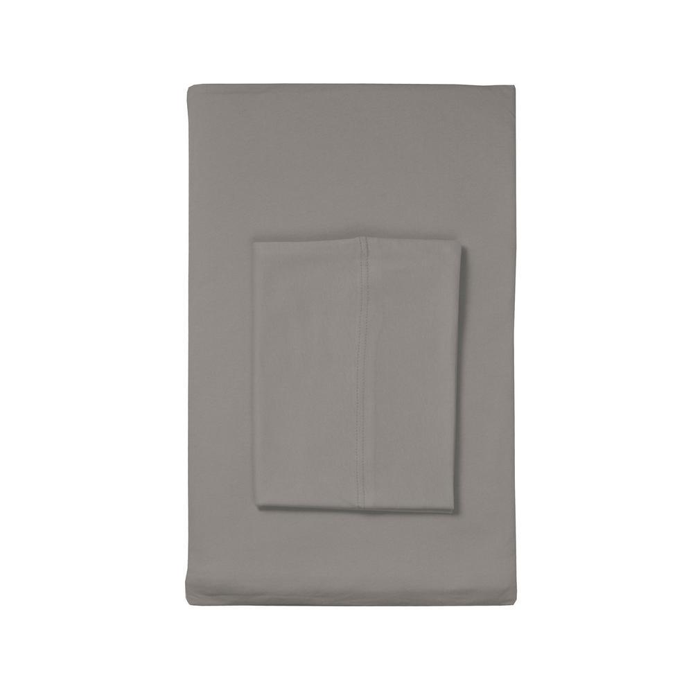 The Company Store Organic Cotton Jersey Gray Fog Solid Standard Pillowcase