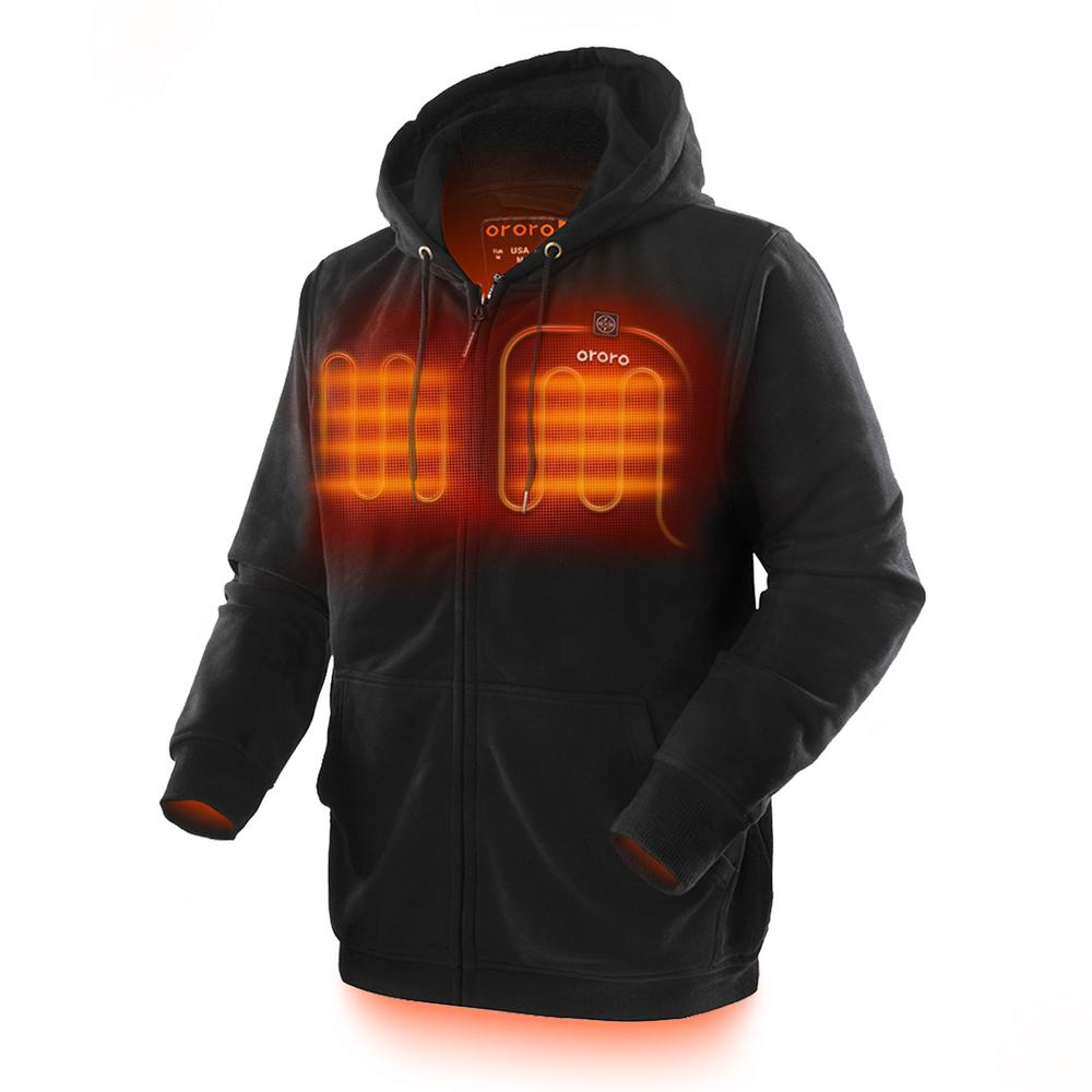 ORORO Men's 2X-Large Black 7.4-Volt Lithium-Ion Full-Zip Heated Hoodie Jacket with (1) 5.2 Ah Battery and Charger was $189.99 now $129.99 (32.0% off)
