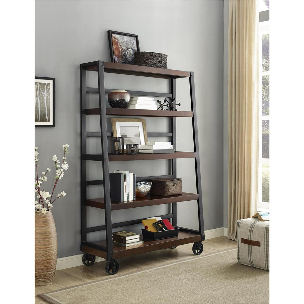 Simpli Home Acadian Tobacco Brown Ladder Bookcase