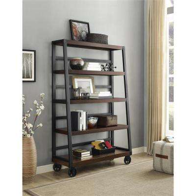 Wade Mahogany Mobile Ladder Bookcase