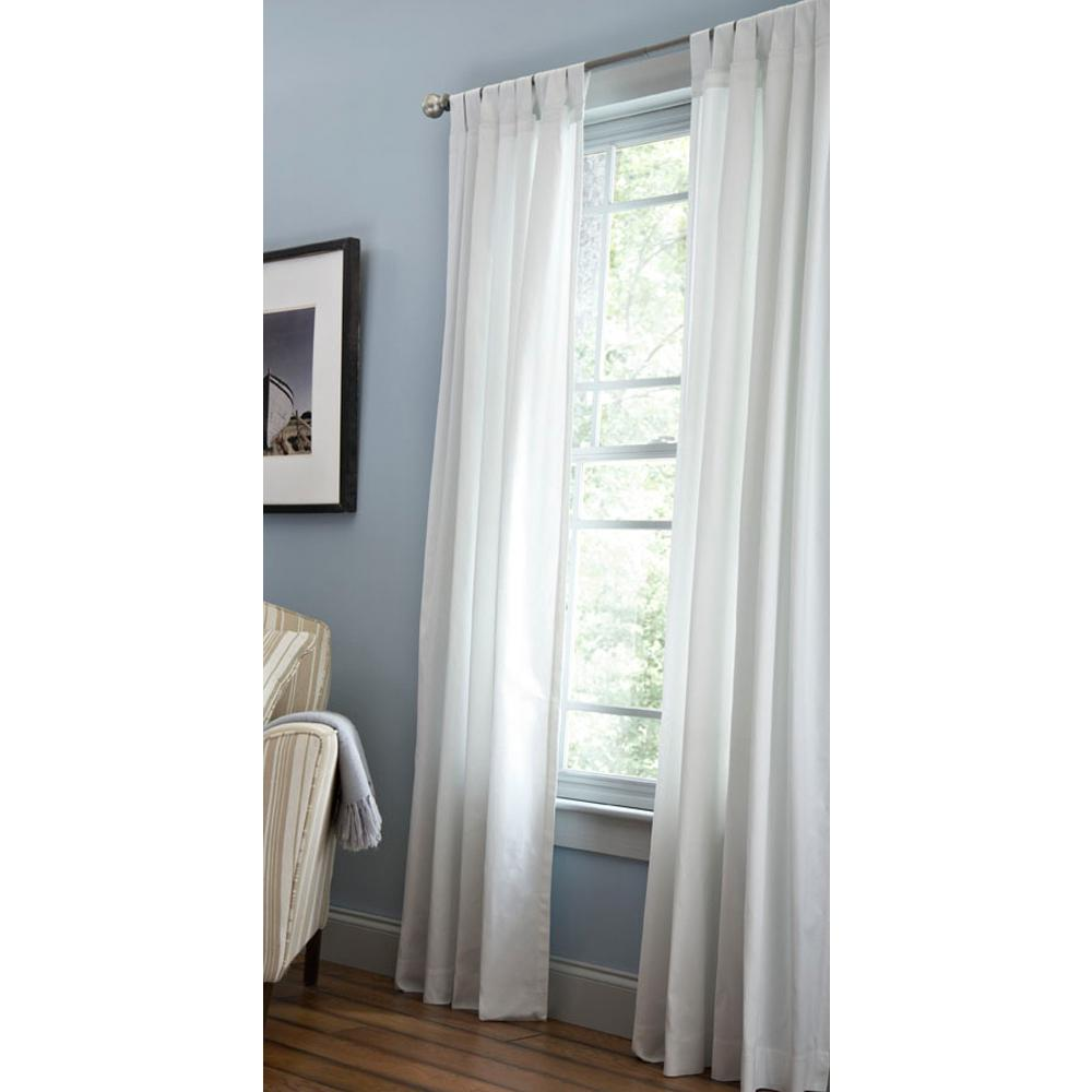 Martha Stewart Living Semi-Opaque Pure White Classic Cotton Tab Top Curtain