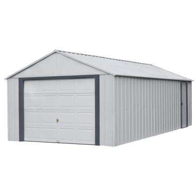 Murry hill 12 ft. W x 24 ft. D 2-Tone Gray Steel Garage and Storage Building with Side Door and High-Gable Roof