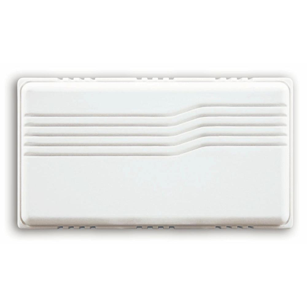 Heath Zenith Basic Wired White Covered Door Chime With Horizontal Lines