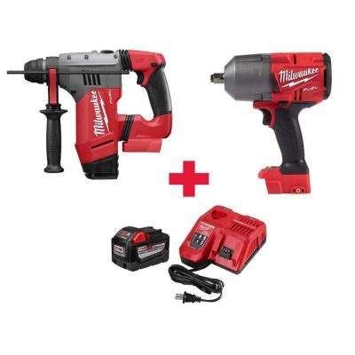 M18 FUEL 18-Volt  1-1/8 in. SDS-Plus Brushless Cordless Rotary Hammer & Impact Wrench W/Free 9.0Ah Battery & Charger