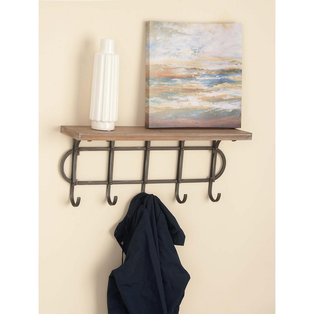 Litton Lane 12 In X 28 In Wood And Iron Wall Shelf With Hooks
