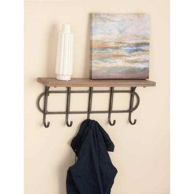 12 in. x 28 in. Wood and Iron Wall Shelf with Hooks