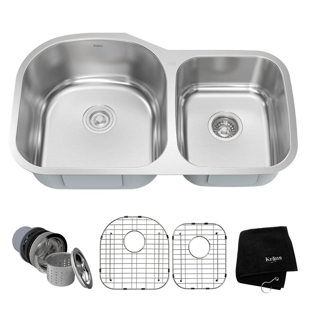 stainless steel sinks for kitchen kraus undermount stainless steel 34 in 60 40 bowl 8295