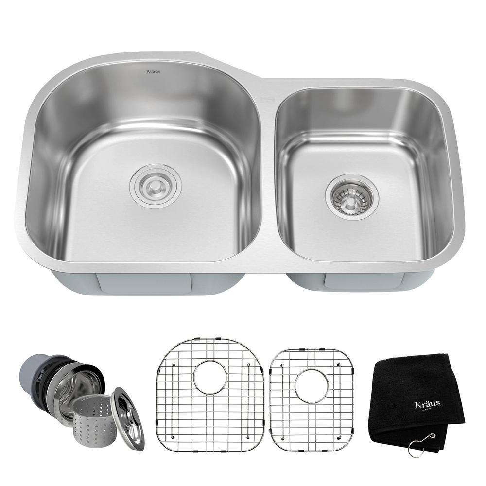 Undermount Stainless Steel 34 in. 60/40 Double Basin Kitchen Sink Kit
