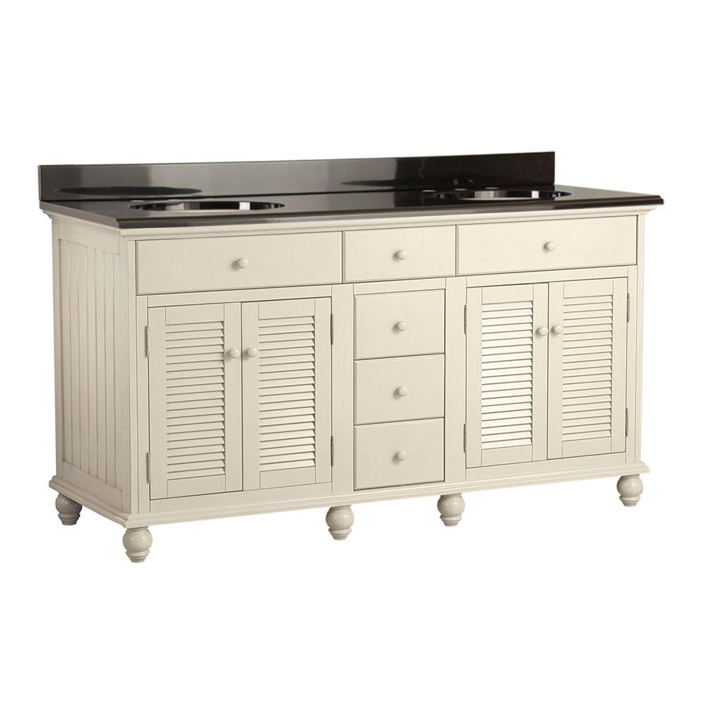 Cottage 61 in. Vanity with Colorpoint Vanity Top in Black was $1490.0 now $1043.0 (30.0% off)