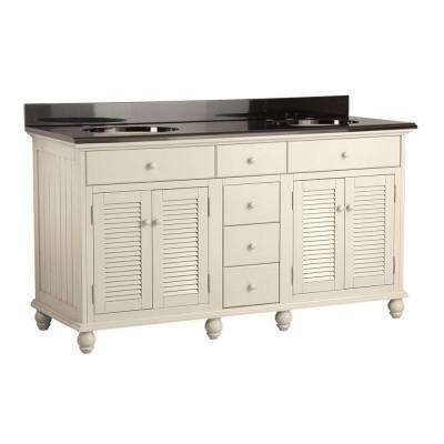 Cottage 61 in. Vanity with Colorpoint Vanity Top in Black