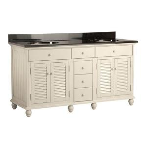 Cottage 61 inch Vanity with Colorpoint Vanity Top in Black by