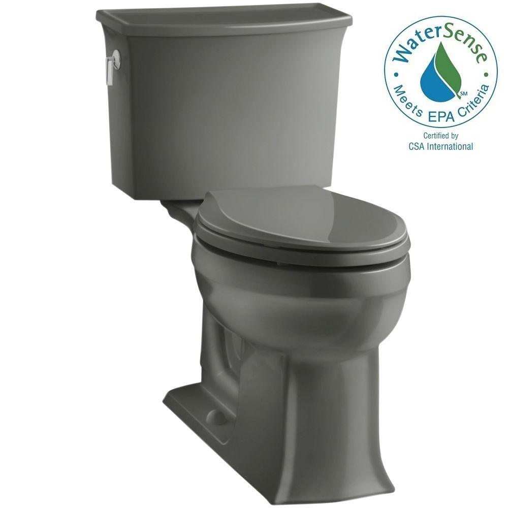 KOHLER Archer Comfort Height 2-piece 1.28 GPF Elongated Toilet with AquaPiston Flushing Technology in Thunder Grey