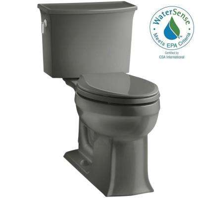 Archer Comfort Height 2-piece 1.28 GPF Elongated Toilet with AquaPiston Flushing Technology in Thunder Grey