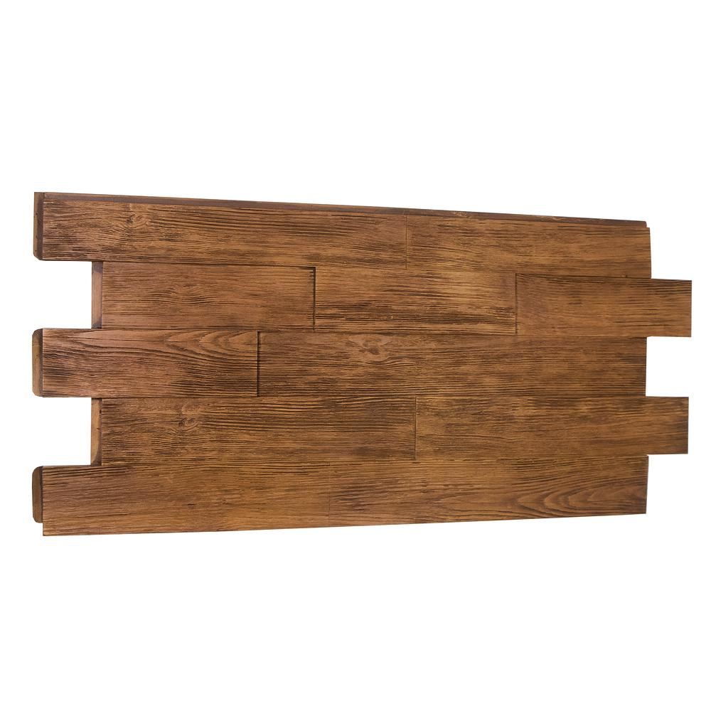 Superior Building Supplies Superior Raised Grain Faux Transitional 1-1/4 in. x 23 in. x 48 in. Custom Walnut Polyurethane Interlocking Panel Superior's 51 in. x 24 in. Raised Grain Transitional Faux Wood Panel (Custom Walnut) Capture the beauty of real wood without the hassle of using real wood. Made of high-density polyurethane, these panels are lightweight and virtually maintenance free. No rotting or insect pest damage to worry about. Installs with screws and adhesive. No special tools required. The panel covers 7.45 sq. ft.