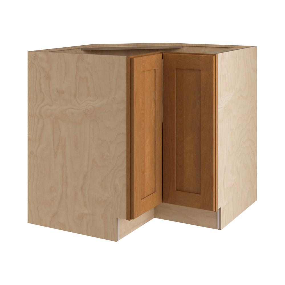 Home Decorators Collection Hargrove Assembled 36x34.5x24 in. Easy Reach  Hinge Right Base Kitchen Corner Cabinet in Cinnamon