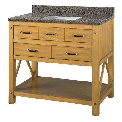 Avondale 37 in. W x 22 in. D Vanity in Weathered Pine with Granite Vanity Top in Sircolo with White Sink
