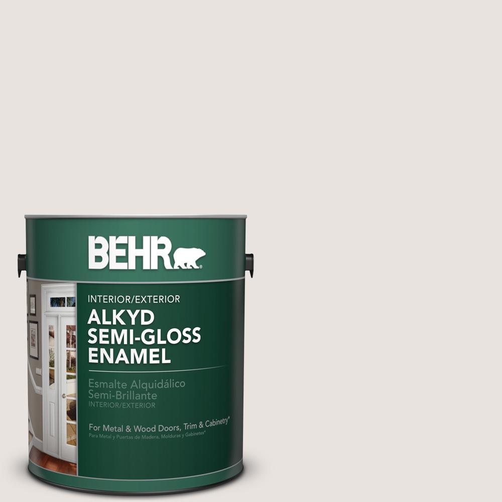 1 gal. #BWC-13 Smoky White Semi-Gloss Enamel Alkyd Interior/Exterior Paint