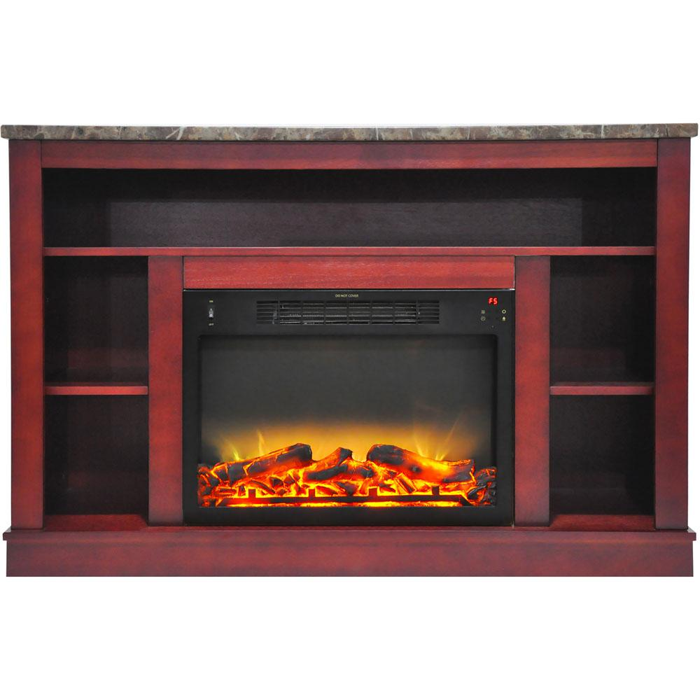 Electric Fireplace With Enhanced Log Insert And Cherry Mantel