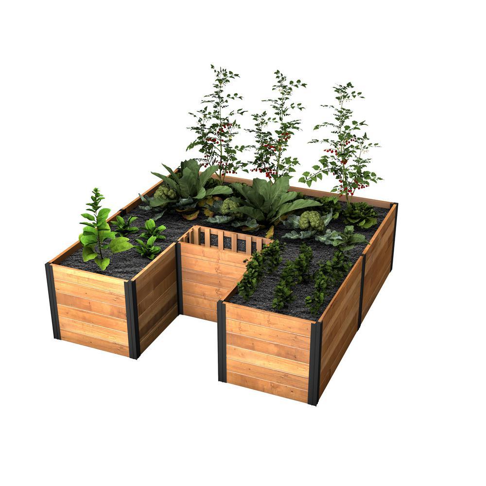 Mezza 72 in. x 72 in. x 22 in. Golden Brown Wood Raised Composting Garden