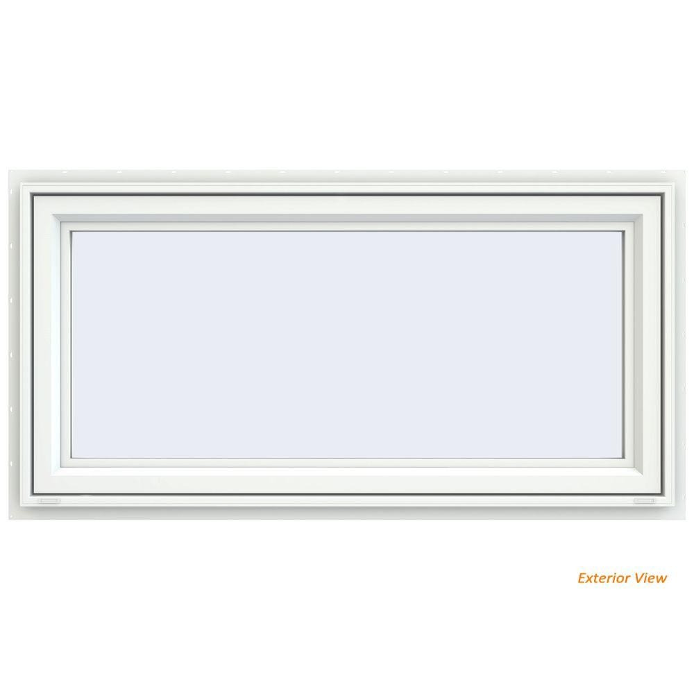 JELD-WEN 47.5 in. x 23.5 in. V-4500 Series White Vinyl Awning Window with Fiberglass Mesh Screen