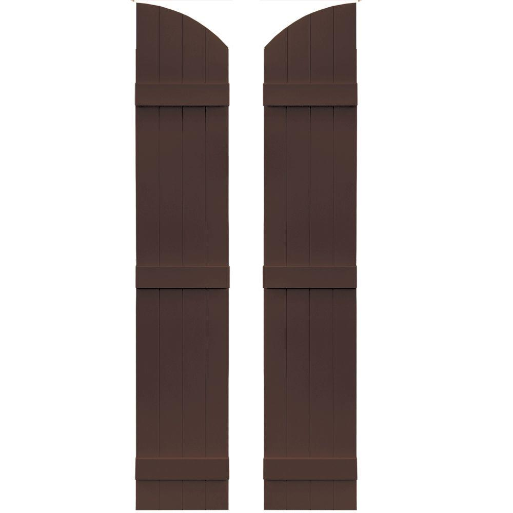 Builders Edge 14 in. x 73 in. Board-N-Batten Shutters Pair, 4 Boards Joined with Arch Top #009 Federal Brown
