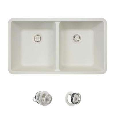 All-in-One Undermount Quartz 32.5 in. 0-Hole Double Bowl Kitchen Sink in White