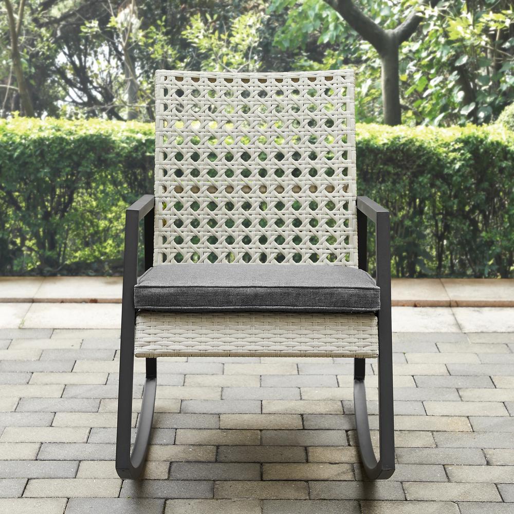 Walker Edison Furniture Company Light Grey Rattan Modern Patio Rocking Chair with Grey Cushion