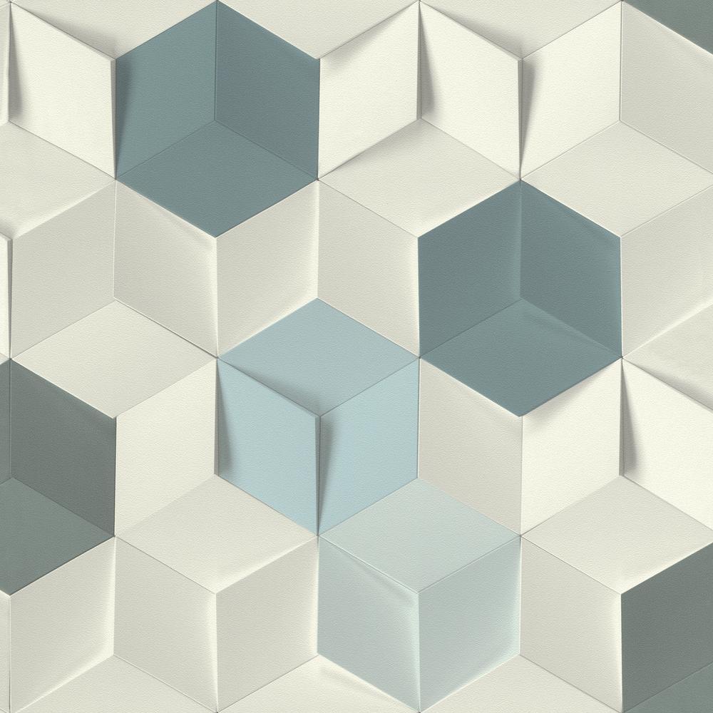 8 in. x 10 in. Catteau Multicolor Cube Wallpaper Sample