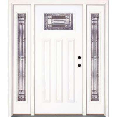 63.5 in. x 81.625 in. Preston Zinc Craftsman Unfinished Smooth Left-Hand Fiberglass Prehung Front Door with Sidelites