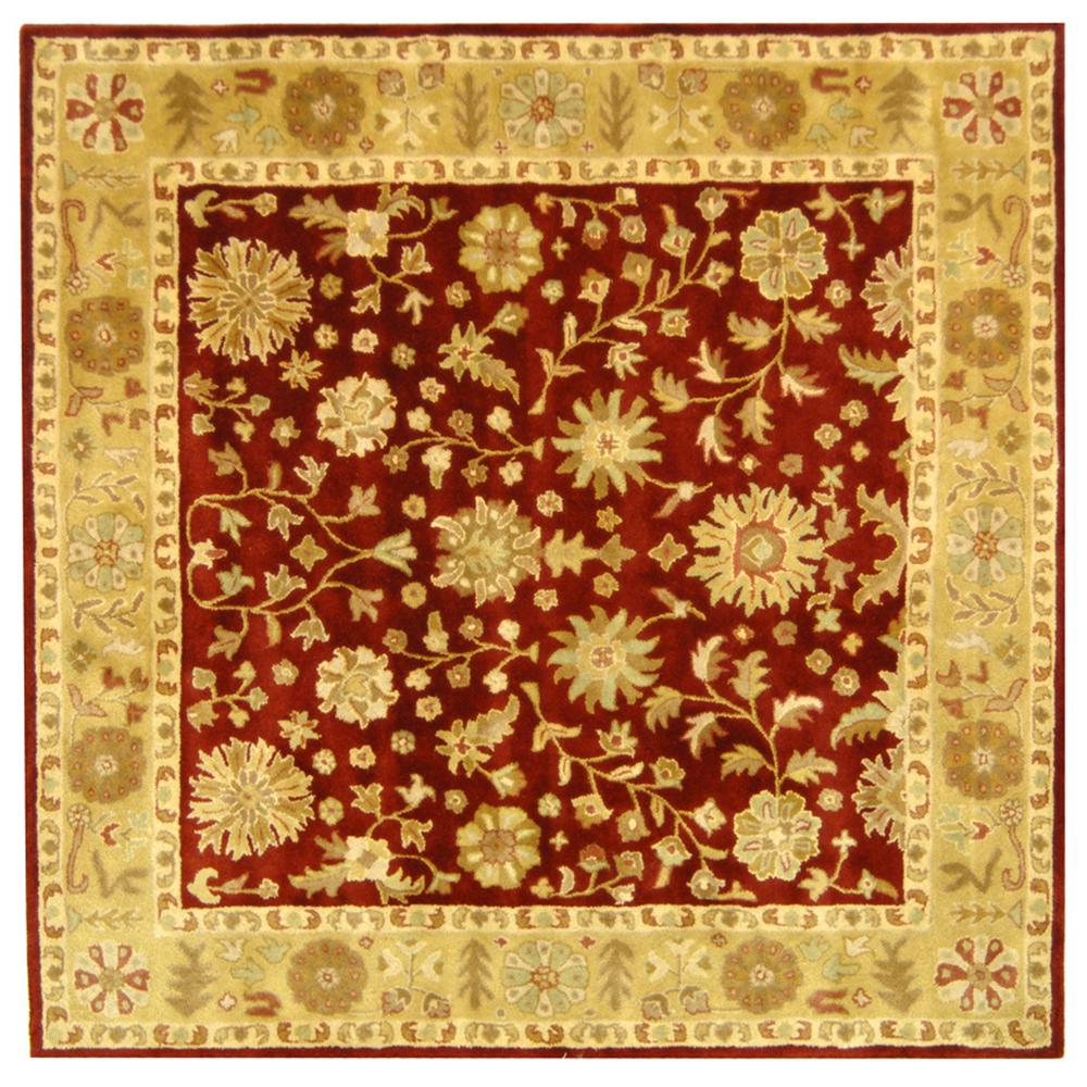 10x10 Square New Oushak Oriental Wool Area Rug: Safavieh Heritage Red/Gold 8 Ft. X 8 Ft. Square Area Rug