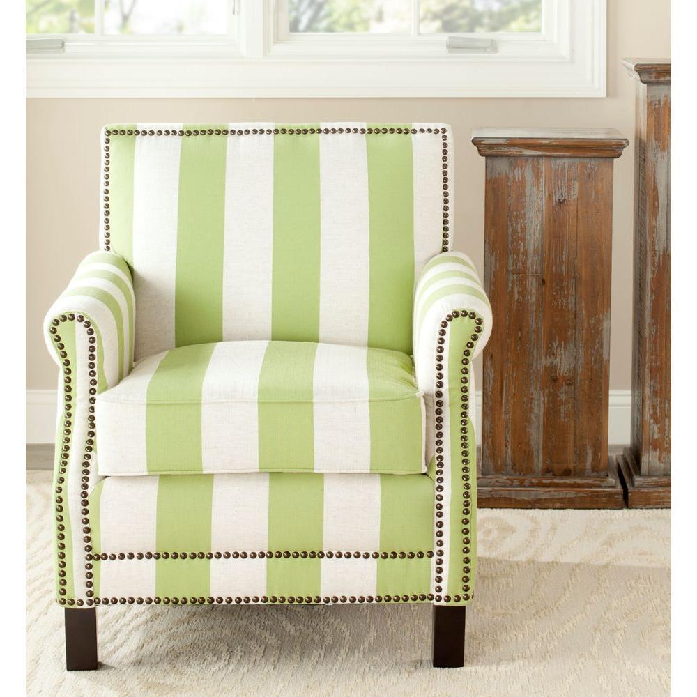 Safavieh Easton Green & Cream Linen Club Arm Chair MCR4572C