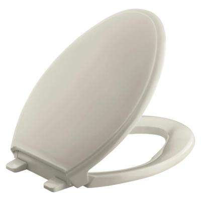 Glenbury Quiet-Close Elongated Closed Toilet Seat with Grip-tight Bumpers in Sandbar