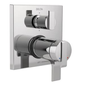 2-Handle Wall-Mount Valve Trim Kit with 6-Setting Integrated Diverter in Chrome (Valve Not Included)