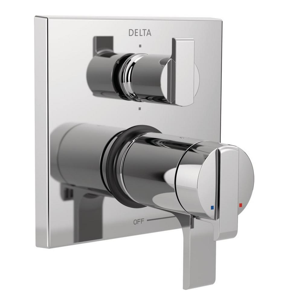 2-Handle Wall-Mount Valve Trim Kit with 6-Setting Integrated Diverter in Chrome