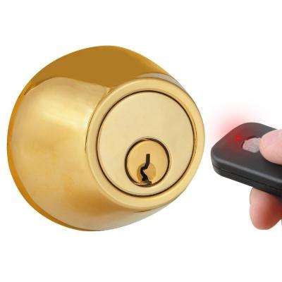 Polished Brass Single-Cylinder Electronic Deadbolt with Keyless Entry via Remote Control for Exterior Doors
